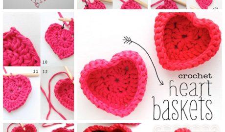 Panier coeur au crochet