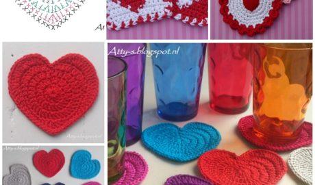 Dessous de verre coeur au crochet