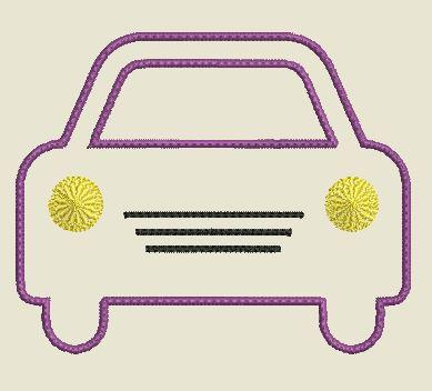 Motif broderie appliqué voiture