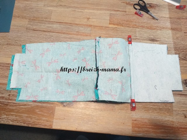 Placer le tissu extérieur et la doublure de part et d'autre