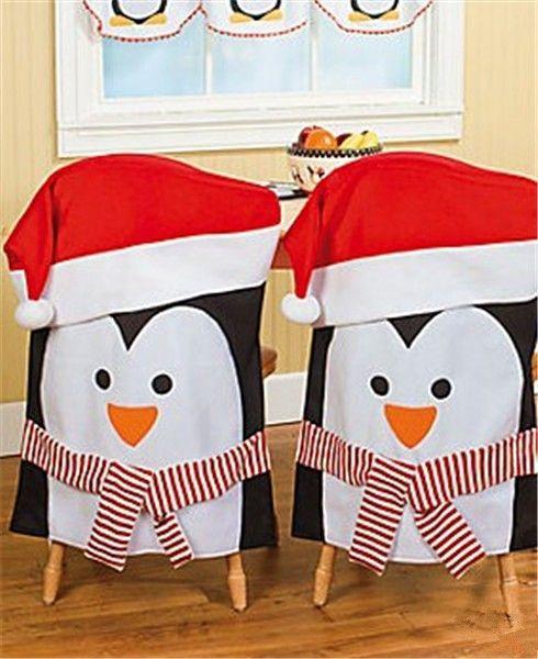 Idées Couvres chaises pingouins de Noël