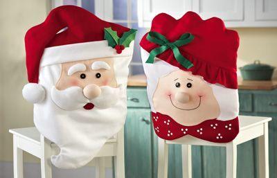 Idées couvres chaises père et mère Noël