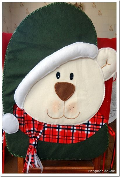 Couvre chaise ourson de Noël