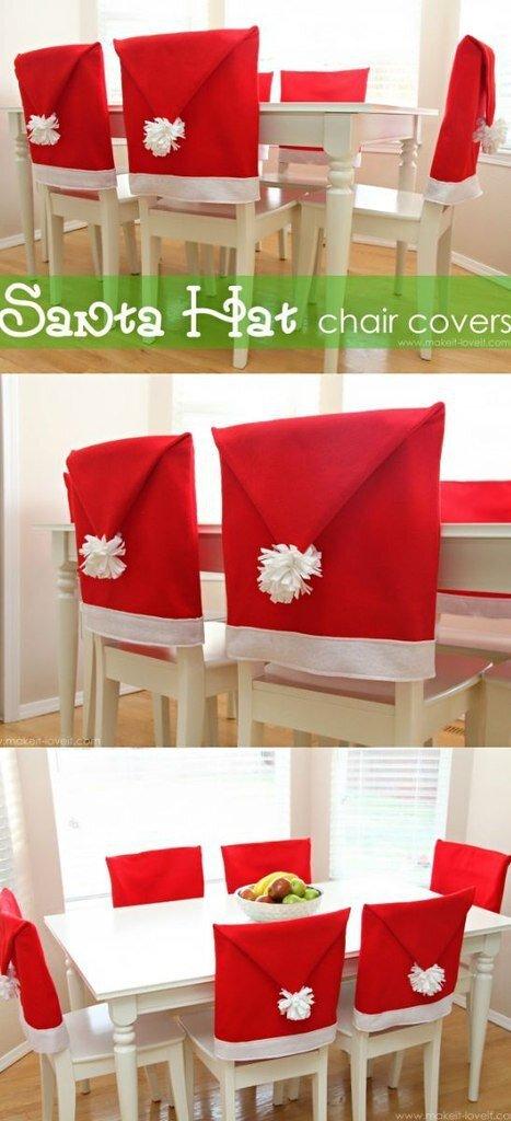 Idées couvres chaises bonnet de père Noël