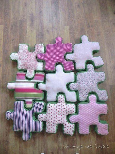 tapis d'éveil puzzle cousu main