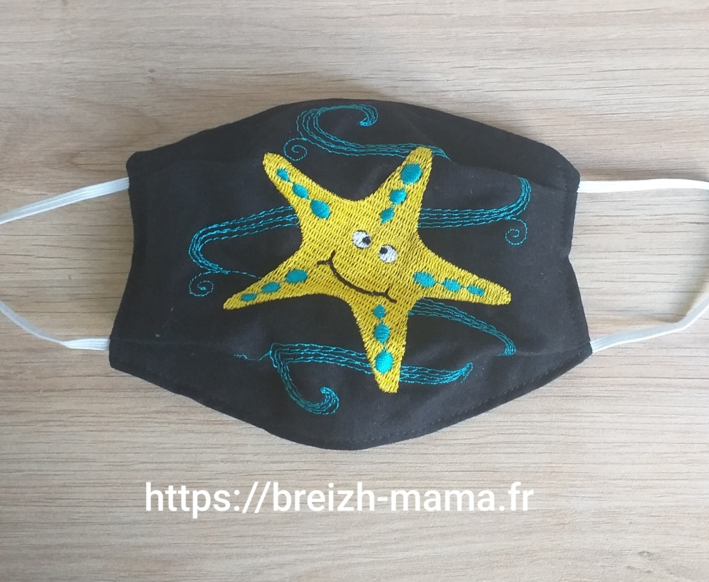 Masque brodé étoile de mer