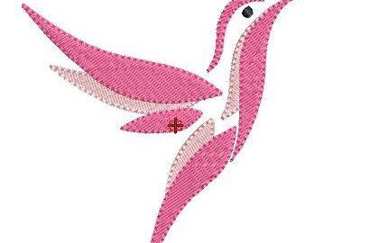 Motif broderie Colibri rose gratuit
