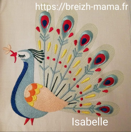 Motif broderie Paon