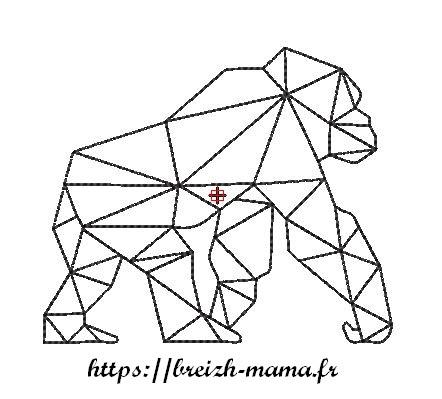 Motif broderie gorille polygone gratuit