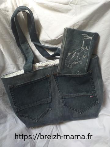 Couture Sac jeans recyclé et trousse brodée
