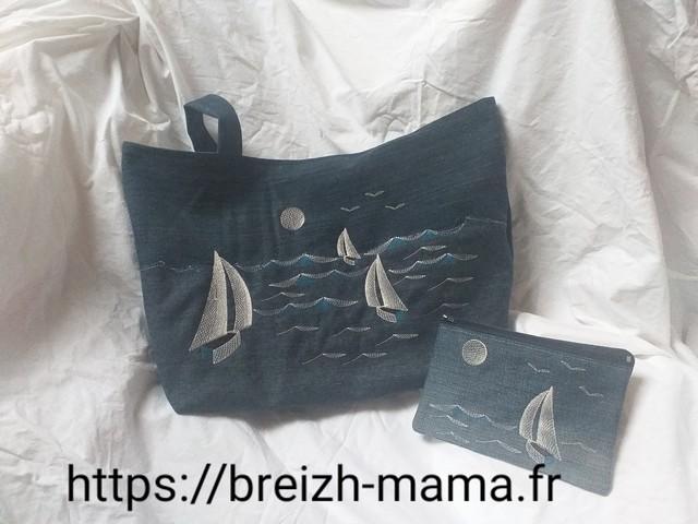 Recyclage jeans - Tuto couture Sac -Ensemble sac et trousse brodé bateau