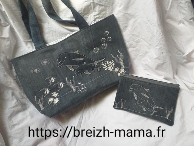Recyclage jeans - Tuto couture Sac - Ensemble tote bag et trousse brodé dauphin