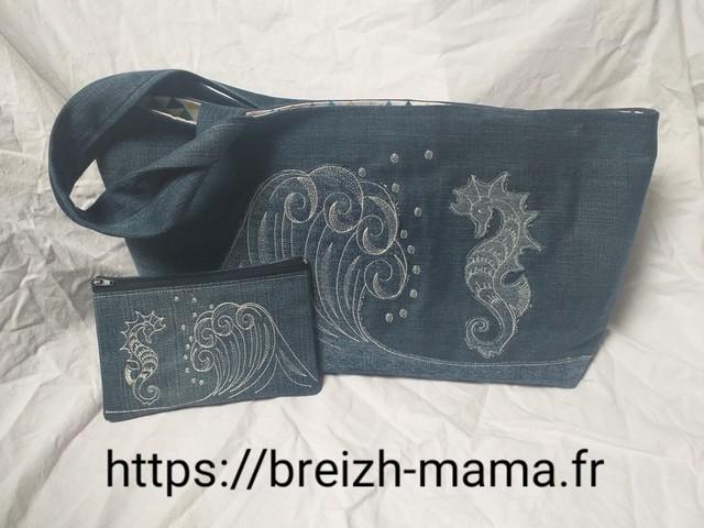 Recyclage jeans - Tuto couture Sac brodé vague et hippocampe