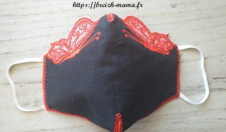 Masque papillon dentelle rouge et noir