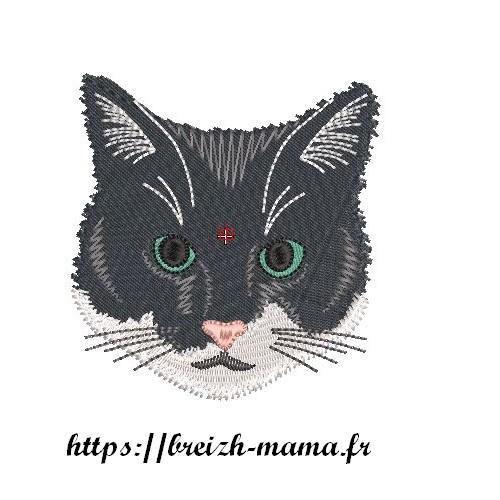 Motif broderie Tête de chat
