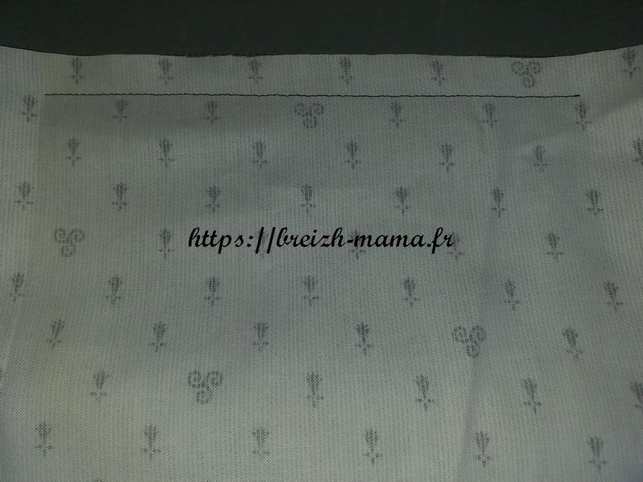 2 - fixer le tissu de doublure poche