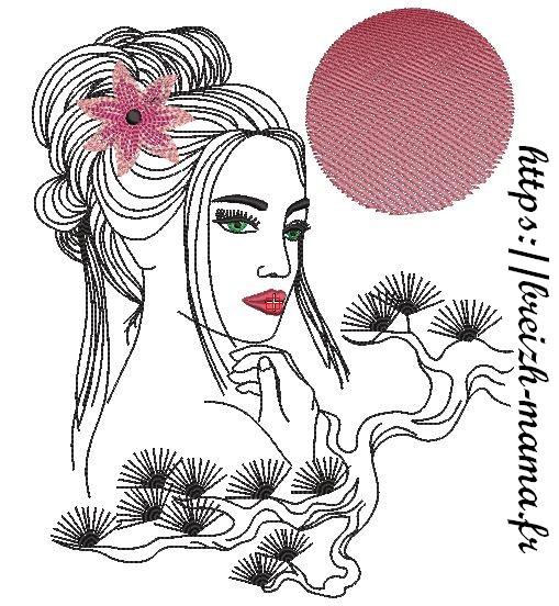 Motif broderie femme fleur-3
